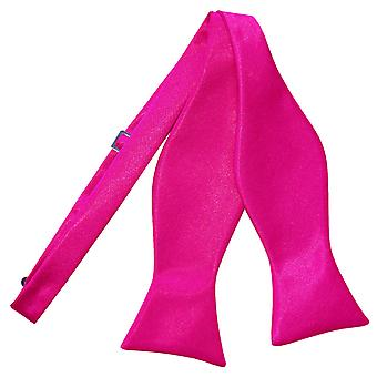 Hot Pink Plain Satin Self-Tie Bow Tie