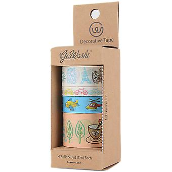 Decorative Washi Tape Assorted Widths 5M 4/Pkg-Travel