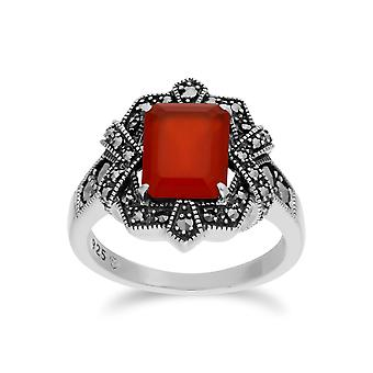Gemondo argento tinti Corniola & Marcasite ottagono Art Nouveau anello