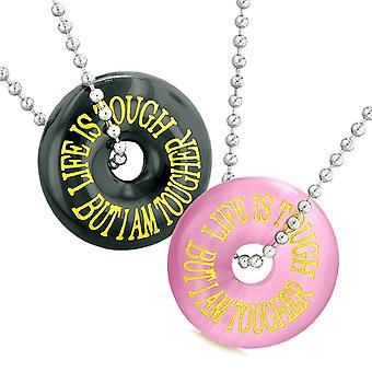 Life is Tough But I am Tougher Best Friends Couples Amulets Pink Simulated Cats Eye Agate Necklaces