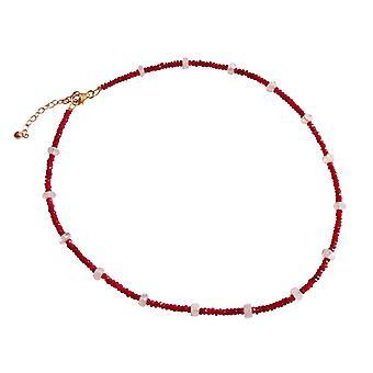 Gemshine - ladies - collana - oro - rubino - rosso - pietra di luna - bianco - sfaccettato - 45cm