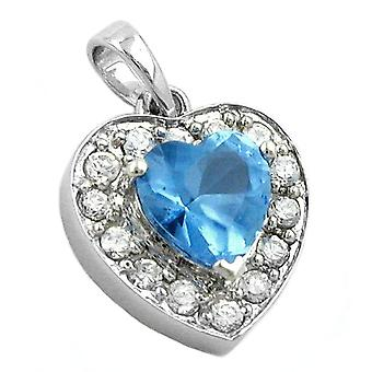 Elegant heart pendant charms, heart blue cubic zirconia rhodium plated Silver 925