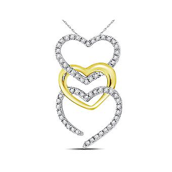 1/6 Carat (ctw I-J, I2) Triple Heart Diamond Pendant Necklace in 10K Yellow and White Gold with Chain