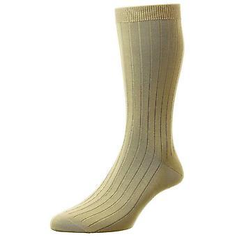 Calcetines de algodón Pantherella Pembrey mar isla - luz de color caqui
