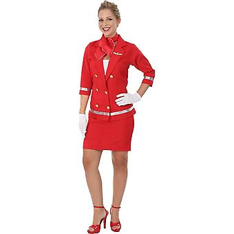 Adult Sizzling Red Air Hostess Fancy Dress Costume