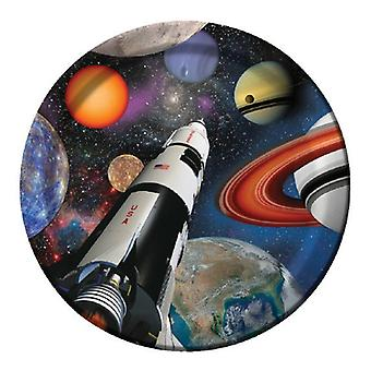 Space outer space party plate cardboard 23 cm 8pcs astronaut party birthday decoration