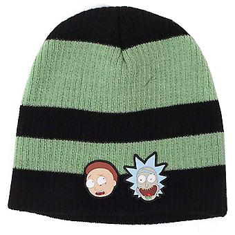 Rick & Morty Beanie Hat Striped Faces patch logo new Official