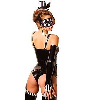 Honour Women's Sexy Basque in Rubber Black & White Latex Underwire Cups