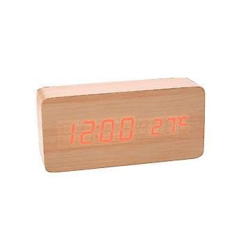 LED despertador digital em design de madeira-madeira/vermelho