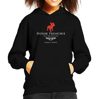 Game Of Bones House Frenchie Game Of Thrones Parody Kid's Hooded Sweatshirt