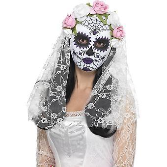 Day of the Dead Bride Mask, Full Face, WHITE