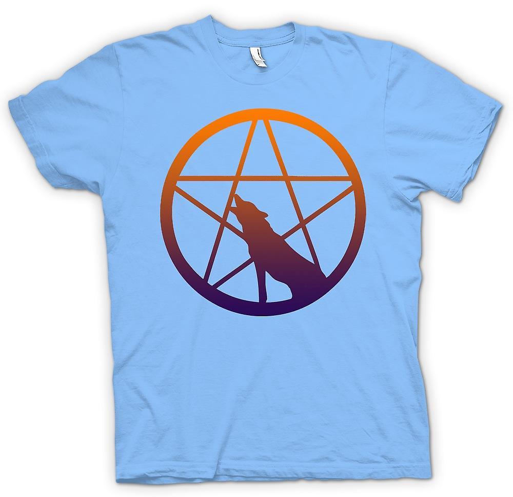 Camiseta para hombre-lobo aullando Pentagram