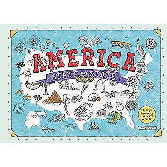 America State by State: Fifty Removable Placemats to Color (Paperback)