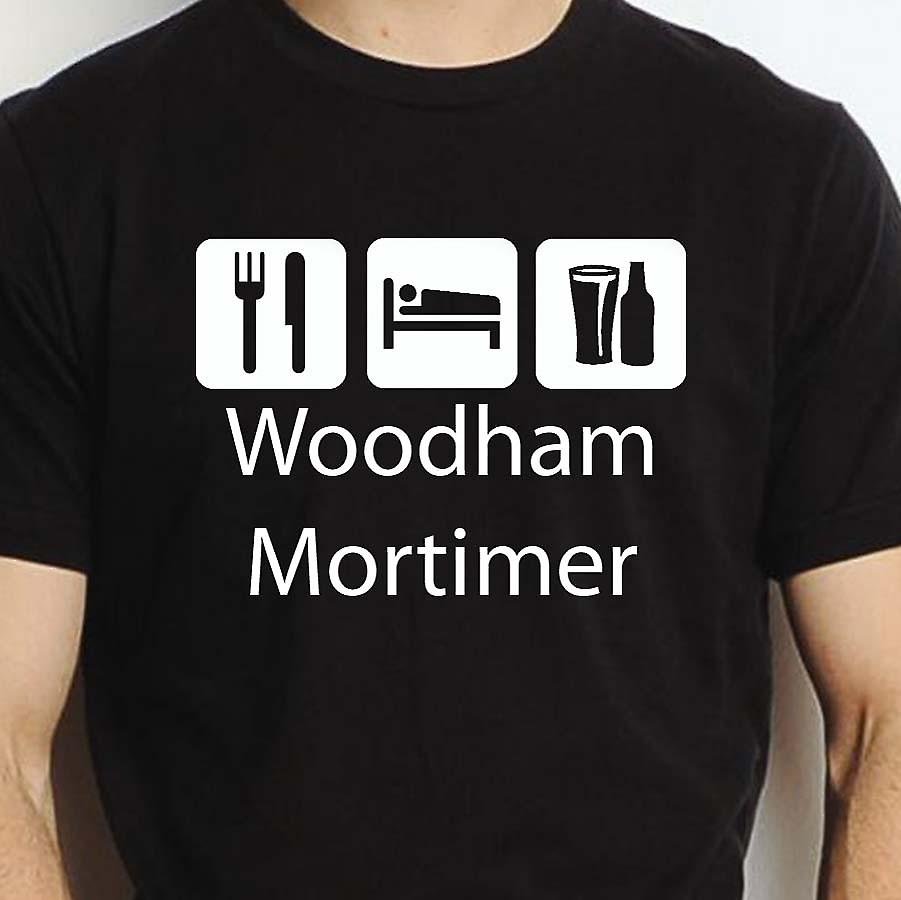 Eat Sleep Drink Woodhammortimer Black Hand Printed T shirt Woodhammortimer Town