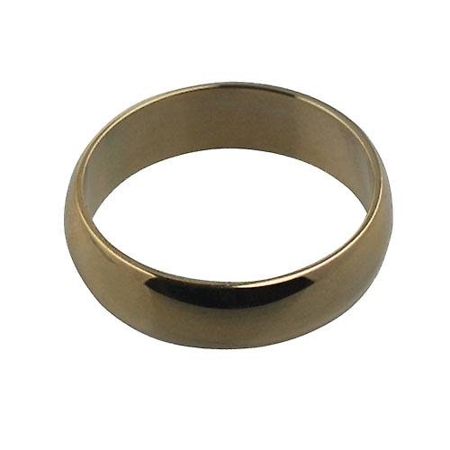 9ct Gold plain D shaped Wedding Ring 5mm wide in Size Z