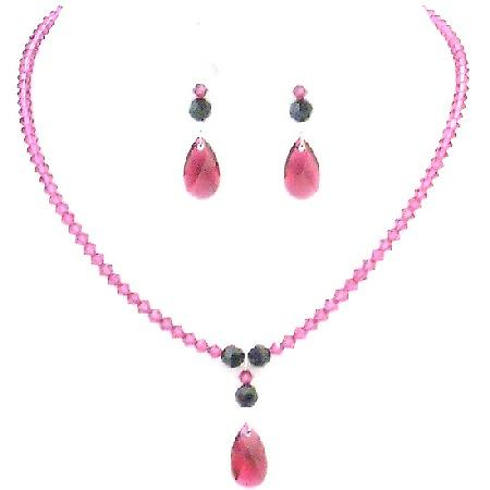 Fuchsia Teardrop Crystals w/ Jet Swarovski Crystals Party Necklace Set