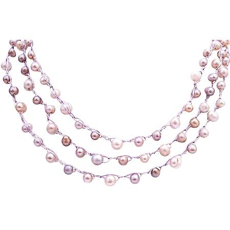Wedding Necklace Freshwater Interwoven White Pink Mauve Pearl Handmade