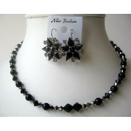 Evening Party Jewelry Swarovski Sparkling Jet Crystals Necklace Set