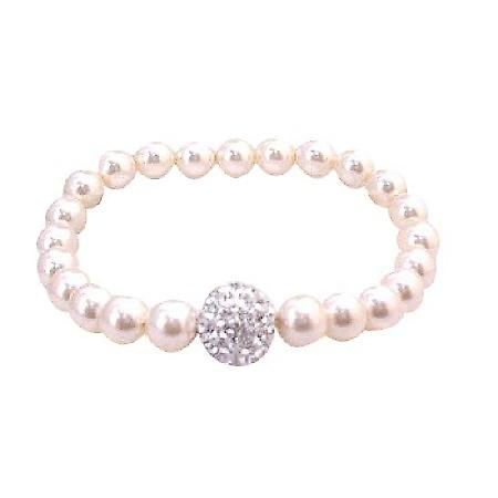 Bridal Bridesmaid Ivory Stretchable Bracelet 7mm Pearls Diamonte Ball