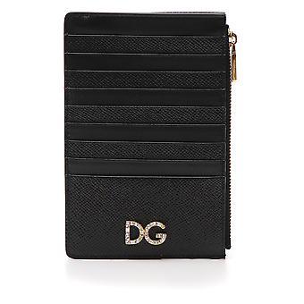 Dolce E Gabbana aus schwarzem Leder-Kartenhalter
