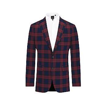Dobell Mens Burgundy Suit Jacket Slim Fit Notch Lapel Tartan