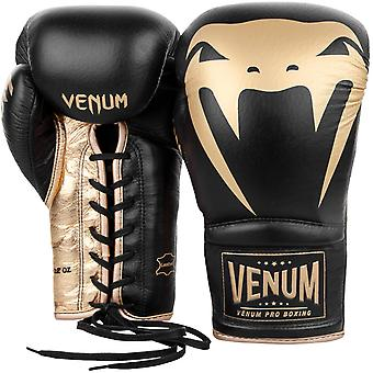 Venum Giant 2.0 Lace Up Leather Pro Boxing Gloves - Black/Gold