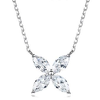 925 Sterling Silver Crystal Clear Flower Pendant Necklace
