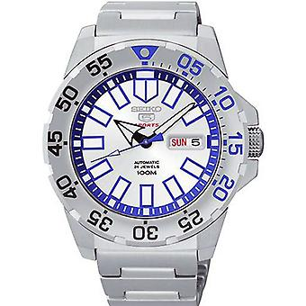 Seiko 5 Sports Baby Ice Monster Stainless Steel Strap Silver/Blue Dial Mens Watch SRP481K1 43mm