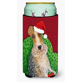 Wire Fox Terrier Christmas Tall Boy Beverage Insulator Hugger