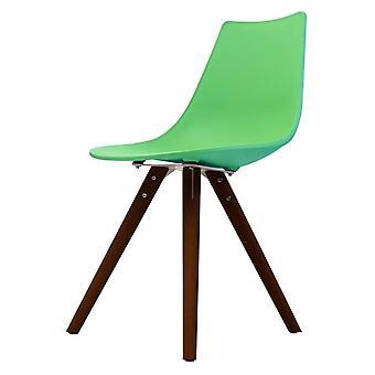 Fusion Living Iconic Peppermint Chaise à manger en plastique avec des jambes en bois foncé