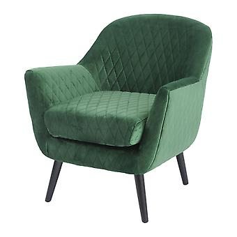 Libra Furniture Green Velvet Quilted Armchair