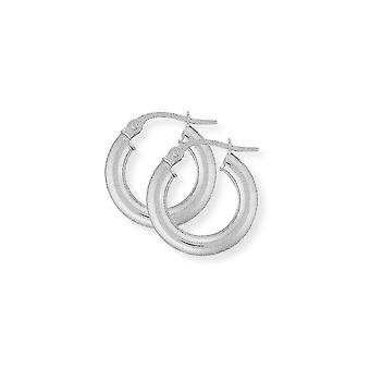 Jewelco London Ladies 9ct valkoinen kulta-3mm mittari Classic Plain vanne korva korut-15mm