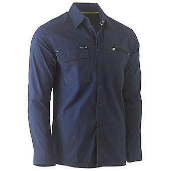 Bisley Flex & Move Utility Work Shirt Long Sleeve Medium Navy