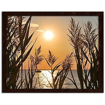 Picture Brown Frame, The Setting Sun On The Lake