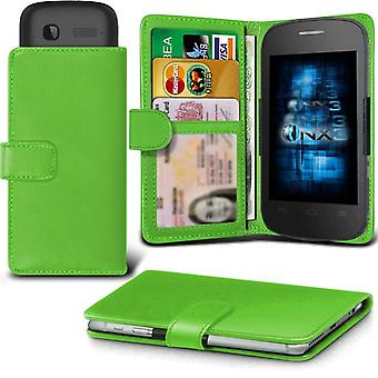 ONX3 Alcatel Idol X+ Leather Universal Spring Clamp Wallet Case With Card Slot Holder and Banknotes Pocket-Green