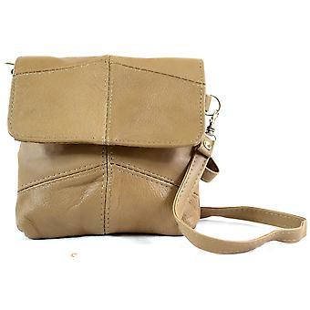 Damer læder Handy Cross Body / skulder taske / pung med aftagelig rem - Fawn