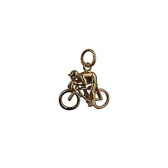 9ct Gold 14x18mm Bicycle and Cyclist Pendant or Charm