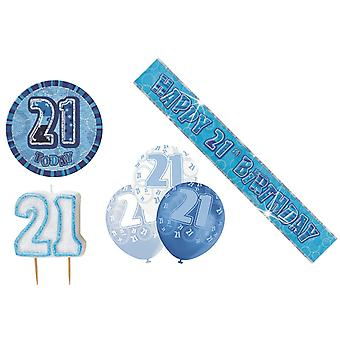 21st Birtday Decoration Pack BALLOONS BANNER CANDLE BADGE Party Decoration Blue