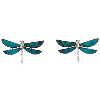 Abalone Paua Shell Turquoise Dragonfly Stud Earrings