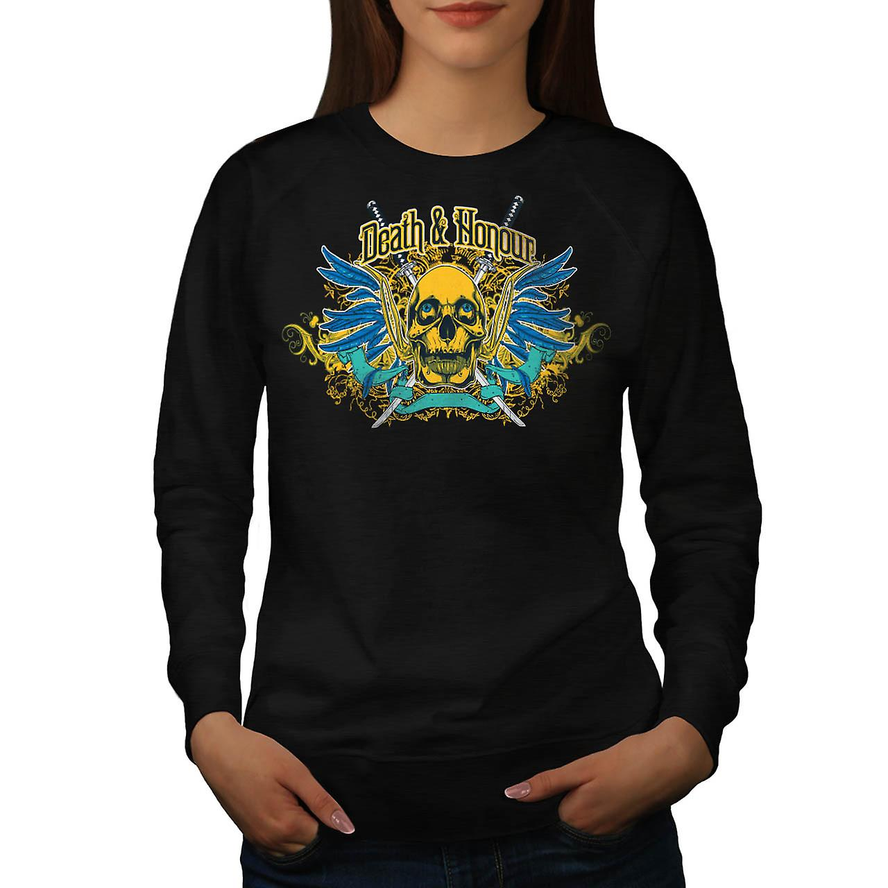 Death And Honour Fear Skull Head Women Black Sweatshirt | Wellcoda