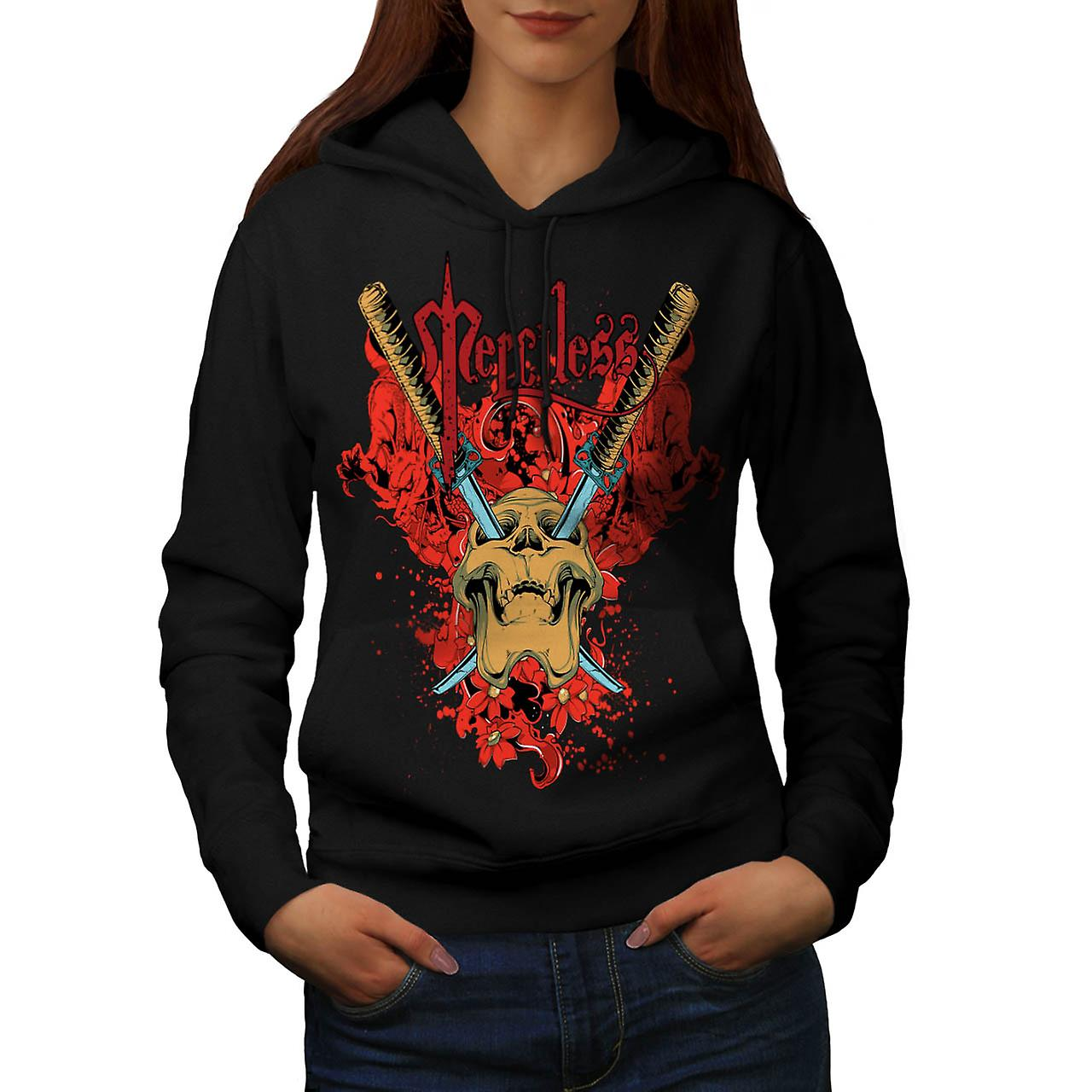 No Mercy Killer Head Dead Skull Women Black Hoodie | Wellcoda
