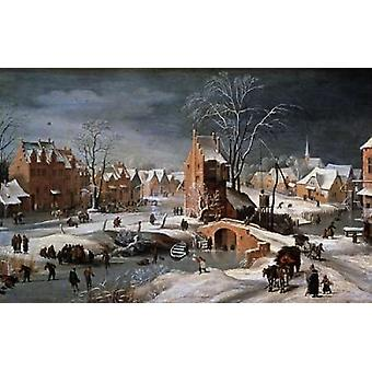 Winter Scene With Ice Skaters and Birds Poster Print by  Pieter the Younger Bruegel
