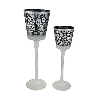 Set of 2 Black & Clear Screaming Ghost Faces Frosted Glass Candleholders