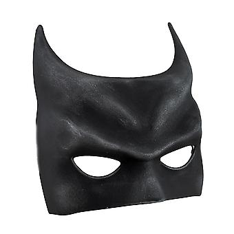 Bat Fantasy Molded Black Half Mask w/Silken Ribbon Ties