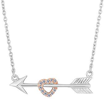 Sterling Silver Arrow With Rose Tone Finish CZ Heart  Necklace, 18