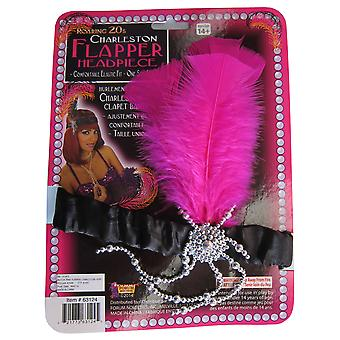 Charleston Flapper 20s Pink Black Feathers Women Costume Headpiece
