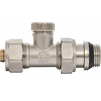 Manual Straight Radiator Valve 16mm PEX compression fittings x 1/2