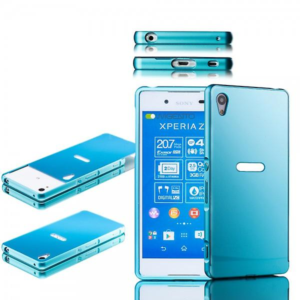 Aluminium bumper 2 pieces with cover blue for Sony Xperia Z3 plus E6553 (+) and dual