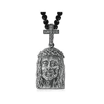 David Sigal Black Onyx Jesus Necklace Pendant in Stainless Steel