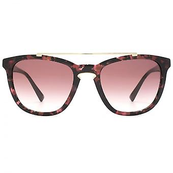 Valentino Keyhole Square Sunglasses In Havana Pink Marble